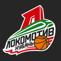 Full-color logo of Lokomotiv-Kuban with white border, russian, black background